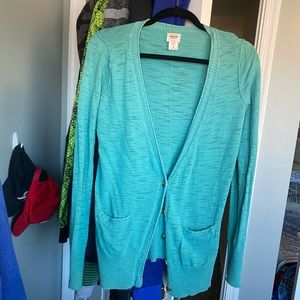 Aqua/teal sweater with pockets & button closure